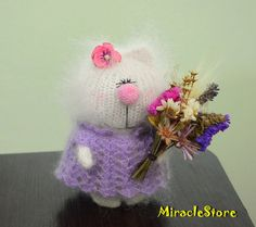 White Lady Kitty in Purple crochet dress - Hand-knitted Cat Toy with natural flowers Amigurumi  Art kitten Dolls Christmas wool cats