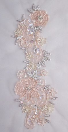 Hand-made motif with tender peach silk organza applique Zardozi Embroidery, Hand Embroidery Dress, Tambour Embroidery, Bead Embroidery Patterns, Couture Embroidery, Flower Embroidery Designs, Bead Embroidery Jewelry, Embroidery Fashion, Silk Ribbon Embroidery