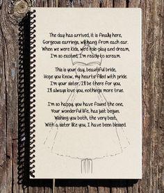 Sister Wedding Day Gift- Sisters Wedding Gift - Sister Gift - Sister of Bride - Sister Wedding Poem - Notebook -Journal -Sketchbook