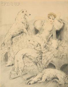 Louis Icart (French, 1888-1950) Blancheurs borzoï dog