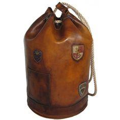 """Pratesi """"Patagonia"""" borsa da viaggio in pelle a spalla borsone da marinaio"""