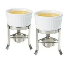 2-Piece Butter Warmer Set with Stainless Steel Stands