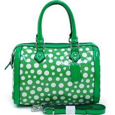 Women's Petite Glossy Polka Dot Fashion Satchel