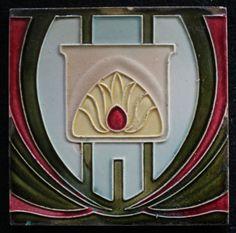 Jugendstil Fliese Art Nouveau tile C1900 Carreau De Dyle Belgien