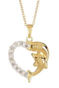 Dolphin & Diamond Heart Pendant Necklace - 0.10 ctw by Savvy Cie on @HauteLook