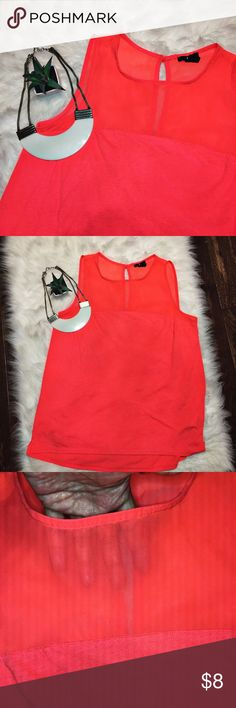 H&M • sleeveless top Preloved. Has some piling that isn't really noticeable. Color is more of a neon coral not neon orange. Top part is sheer. Back is keyhole closure with button. H&M Tops