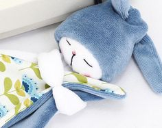 Sleepy Bunny: Blue / Bunny Plush / Stuffed Toy Rabbit / Baby Toy / Rabbit Plushie / Sleeping Buddy Bunny