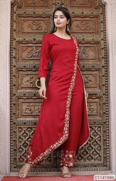 escription: It has 1 Piece of Kurti and 1 Piece of Pant Fabric; Kurti: 32 In, Pant: 40 In Size; Kurti: Solid With Embroidery Work, Pant: Solid Woth Border Indian Fashion Dresses, Dress Indian Style, Indian Designer Outfits, Stylish Dresses For Girls, Stylish Dress Designs, Dresses For Women, Stylish Kurtis Design, Long Dresses, Designer Party Wear Dresses