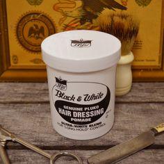 Black  White Genuine Pluko Hair Dressing Pomade - Oil Based Pomade – Pomade.com - One Stop Pomade Shop