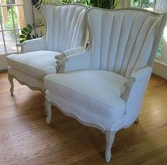 French Style Channel Back Chairs in White by WydevenDesigns, $1300.00