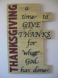 Thanksgiving sign wood painted wall art hanging by TheRusticRaven, $45.00