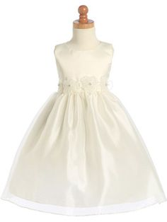 Scoop Ivory Ball Gown Knee-length Flower Girl Dress