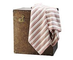 Plaid en algodón Throw, rosa, blanco y cobre - 120x170 cm