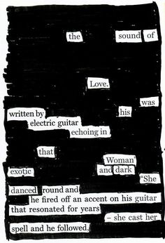 Exotic and Dark - Blackout Poem by Kevin Harrell www.blackoutpoetry.net