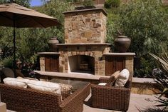 Outdoor Fireplace - Custom Deluxe Landscape