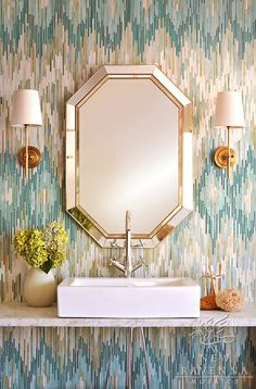 Loom, a jewel glass mosaic shown in Quartz, Aquamarine, Tanzanite and Turquoise, is part of the Ikat Collection by New Ravenna Mosaics.