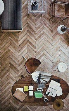 Herringbone Wood Floors - light wood