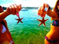 Starfish! Beach time! With BFFs! I like both the bikinis! @Michaella Bacotti Bacotti Bacotti Bacotti Redl I wanna go to the ocean with you!