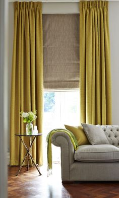 Layering luxurious fabrics in shades regal shades creates a wonderfully royal decor. Match traditional furniture and classic textures such as tweed and wood to complete a traditional decor theme. Our Bardot Olive curtains and Artisan Dove Grey Roman blind from the @house_beautiful collection are the perfect additions.