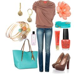 Turquoise, Coral & tan