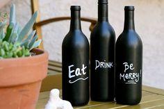 Wine Bottle Art with Chalkboard Paint