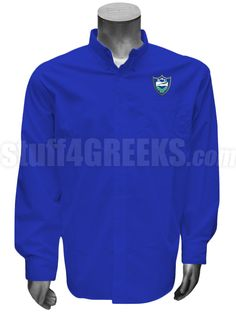 Royal blue Chi Alpha Epsilon men's button down shirt with the crest on the left breast.