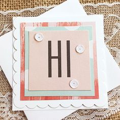 A Simple Hi Mini Card Gift Tag Greeting Hello by PaperDahlsLLC