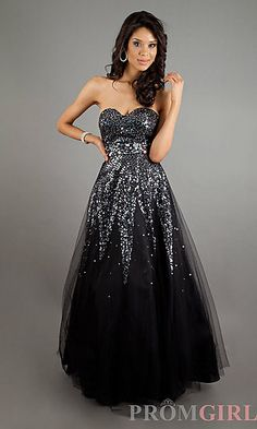 Strapless Sequin Black Ball Gown at PromGirl.com
