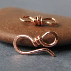 Small Copper Clasps with Eye Links, Handmade Supply Findings - OWC 18g, 2 sets
