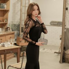 CW07067 Fishtail sexy Korean style lace autumn and winter dress