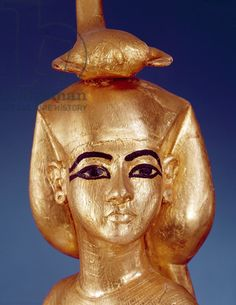 Detail of the goddess Selket from the canopic shrine, from the Tomb of Tutankhamun (c.1370-1352 BC) New Kingdom (gilded wood)