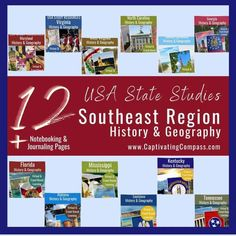 USA State Study Pack -Southeast Region Bundle. A downloadable 12-State pack for 4th-12 grades about famous people & places in the USA. Geography For Kids, World Geography, Homeschool High School, Homeschool Curriculum, Homeschooling, Virginia History, Virtual Travel, Mega Pack, Teaching History