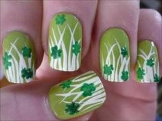 """Are you going out for St. Paddy's Day?  Try out this nail design to celebrate from head to toe!  Re-pin and click here to enter Sally Hansen's """"I Love Nail Art"""" Sweepstakes!  http://womanfreebies.com/sweepstakes/sally-hansens-i-love-nail-art/?clovernails"""