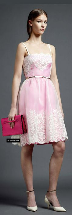 Valentino Pre Spring 2013, pretty pink dress with white lace