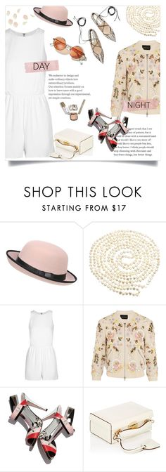 """""""Untitled #549"""" by millilolly ❤ liked on Polyvore featuring Pilot, Lido Pearls, Alice + Olivia, Needle & Thread, Fendi, Mark Cross, DayToNight and romper"""