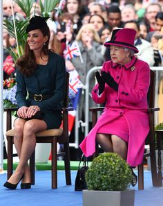 Duchess Kate Middleton and Queen Elizabeth chat at Leicester City