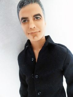George Clooney doll (Or, If Anthony Bourdain and Jim Parsons had a baby. :-P Hee-hee! Beautiful Barbie Dolls, Vintage Barbie Dolls, Barbie Celebrity, Afro, Valley Of The Dolls, Realistic Dolls, Living Dolls, Ken Doll, Barbie World