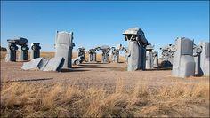Photo shows Carhenge, western Nebraska's automotive replica of England's famed Stonehenge, near Alliance, Neb.