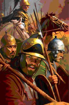 Carthaginian warriors of Hannibal's army. Right, a Celt, Center, a Libo-Phoenician pike man, left, possibly a Spaniard or Celtiberian. On the horse, a Carthaginian officer.