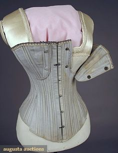 1890 Nursing Corset  Blue gray cotton sateen, curved front busk, cups snap open-close for nursing, original gray laces.