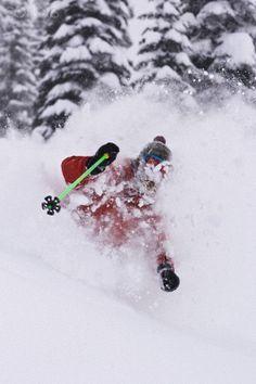 Young heavily-bearded man skiing deep powder at Fernie Alpine Resort, Fernie, BC, Canada