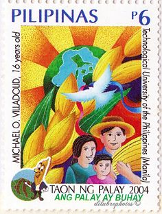 Philippines.  TAON NG PALAY.  WINNING DESIGNS IN RICE IS LIFE NATIONAL STAMP DESIGN CONTEST.  Scott 2935 A928, Issued 2004, 6. /ldb.