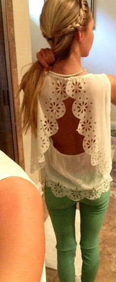 love the look of the lace with green pants