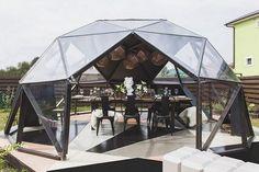 "Gazebo And Pergola Project For TV-programme ""Fazenda"" – Picture gallery - Architektur Geodesic Dome Greenhouse, Geodesic Dome Homes, Garden Igloo, Garden Pods, Dome Structure, Pavillion, Interior Design Presentation, Kitchen Pantry Design, Grill Hut"
