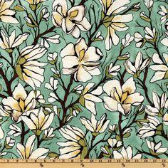 Michael Miller Magnolia Lane Magnolia Branch Aqua *quilting fabric