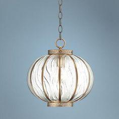 "Global Glass 12"" Wide Brass Mini Pendant Light | LampsPlus.com"