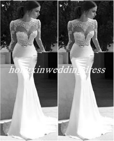 Alluring Mermaid Crew Sweep Train Appliques Lace Backless Bridesmaid Dress,Party Dress , wedding Dress. Wedding Dresses, Wedding Gowns