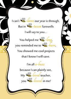 Teacher Appreciation Week Discover Bee-Teacher-Letter-by-ReneesSoirees Bee Teacher Gifts, Teacher Treats, Bee Gifts, Your Teacher, Teacher Cards, Teacher Quotes, Teacher Stuff, Teacher Appreciation Letter, Teacher Thank You Letter