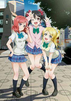 Maki Nishikino, Nico Yazawa, and Eli Ayase Anime School Girl, Girls Anime, Anime Girl Cute, Anime Art Girl, Manga Girl, Anime Best Friends, Friend Anime, Manga Kawaii, Kawaii Anime Girl