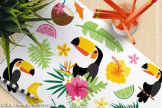 Clipart - Tropical Toucans by MyClipArtStore on @creativemarket